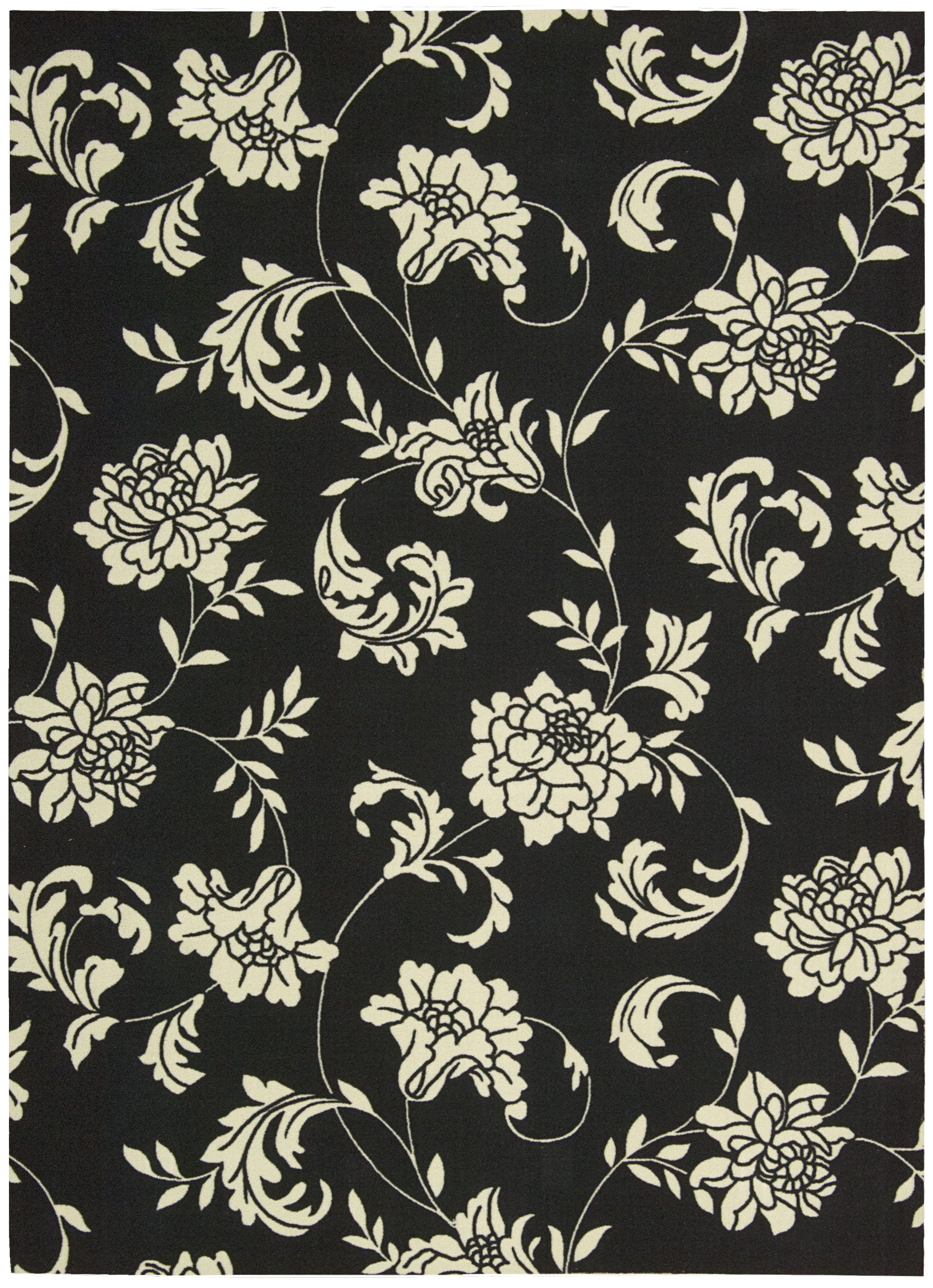 Nourison Indoor/Outdoor Home & Garden Black Floral Rug