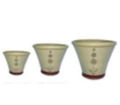 Set of 3 Cream Flower Pots with 3 Ball Topiary