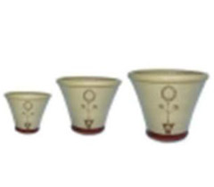 Set of 3 Cream Flower Pots with Circular Topiary