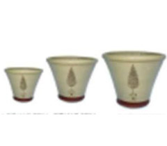 Set of 3 Cream Flower Pots with Closed Cone Topiary