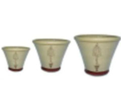 Set of 3 Cream Flower Pots with Open Cone Topiary