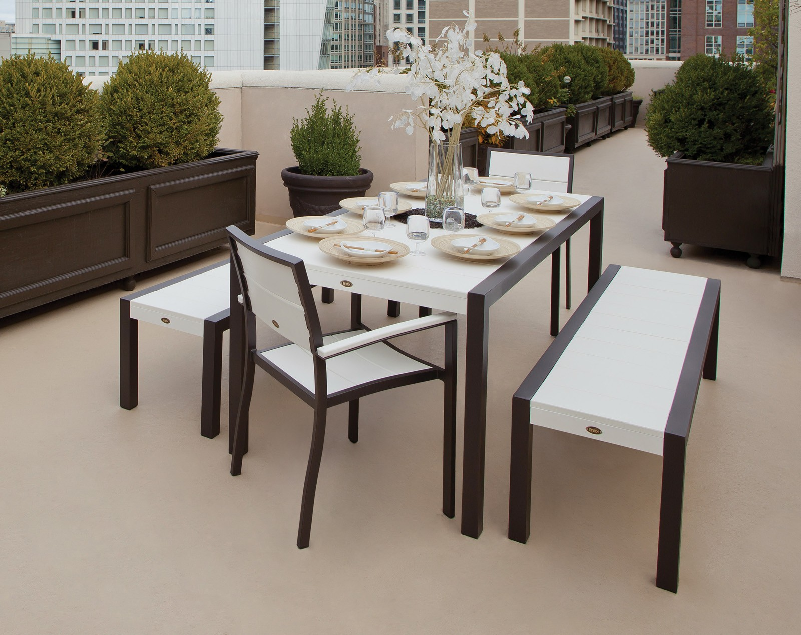 Trex� Outdoor Furniture� Surf City 5 Piece Dining Ensemble with Benches
