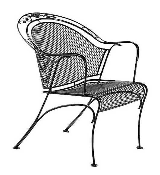 Windflower Wrought Iron Mesh Barrel Dining Chair