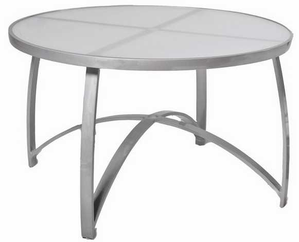 Wyatt Aluminum Flex 48� Round Dining Table - Frosted Glass