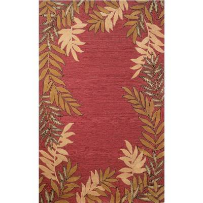 Spello Fern Border Red Outdoor Rug