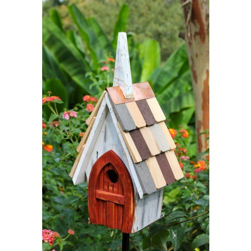 Heartwood Flock of Ages - White With Red Door Birdhouse