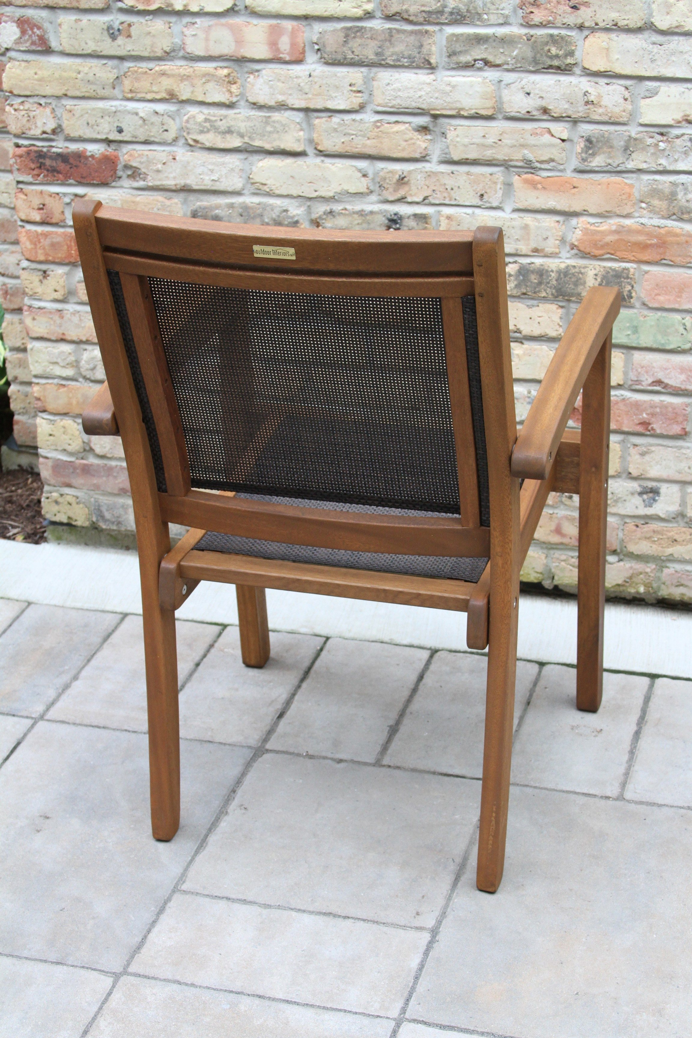 Outdoor Interiors Sling And Eucalyptus Stackable Arm Chair