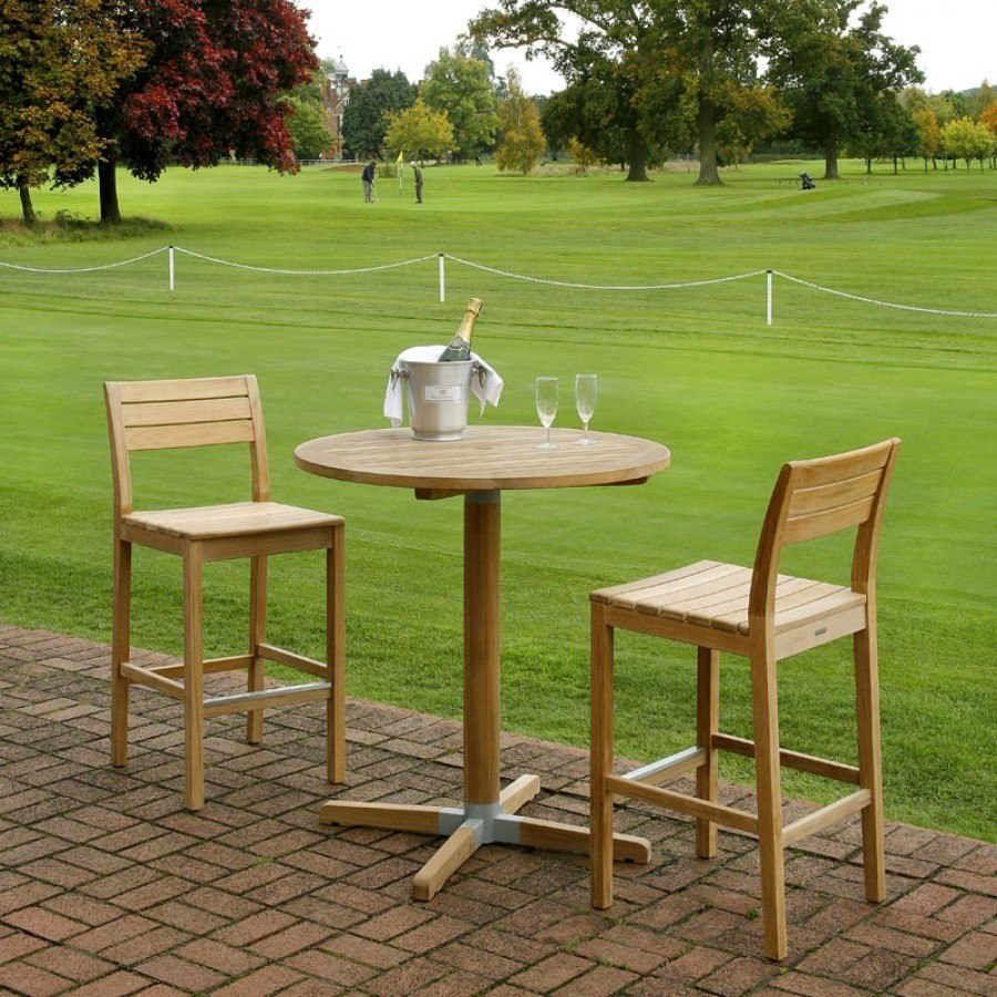 Barlow tyrie bermuda teak 3pc bar height dining ensemble by barlow tyrie