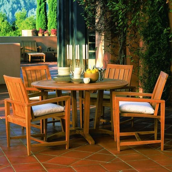 Kingsley Bate Amalfi Teak Round Dining Table 50
