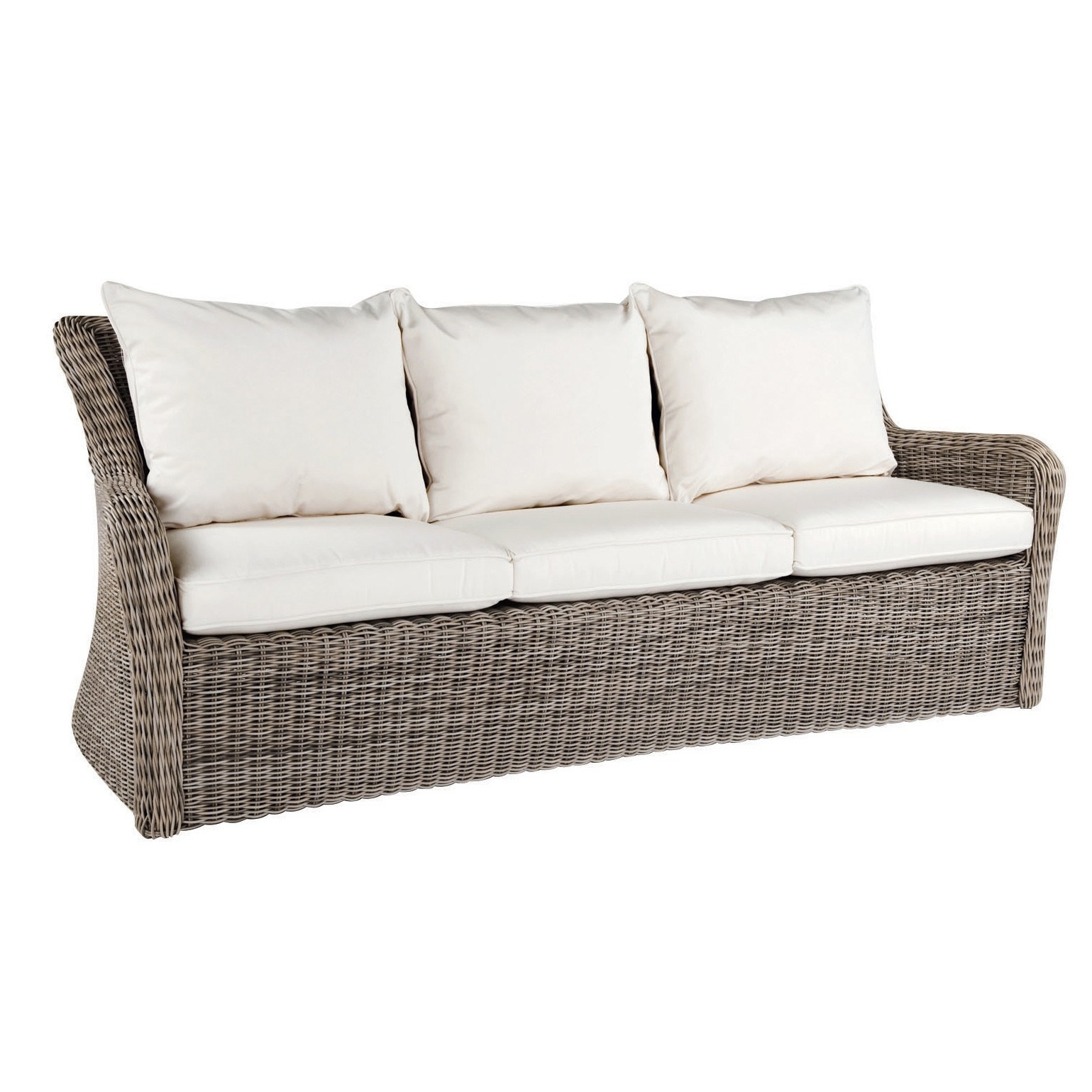 sag harbor chatrooms 4-piece set includes: - left side & right side facing loveseats - armless chair extension piece - wedge corner piece cushioned resin wicker seating, modular seating&nbsp 6 throw pillows i.