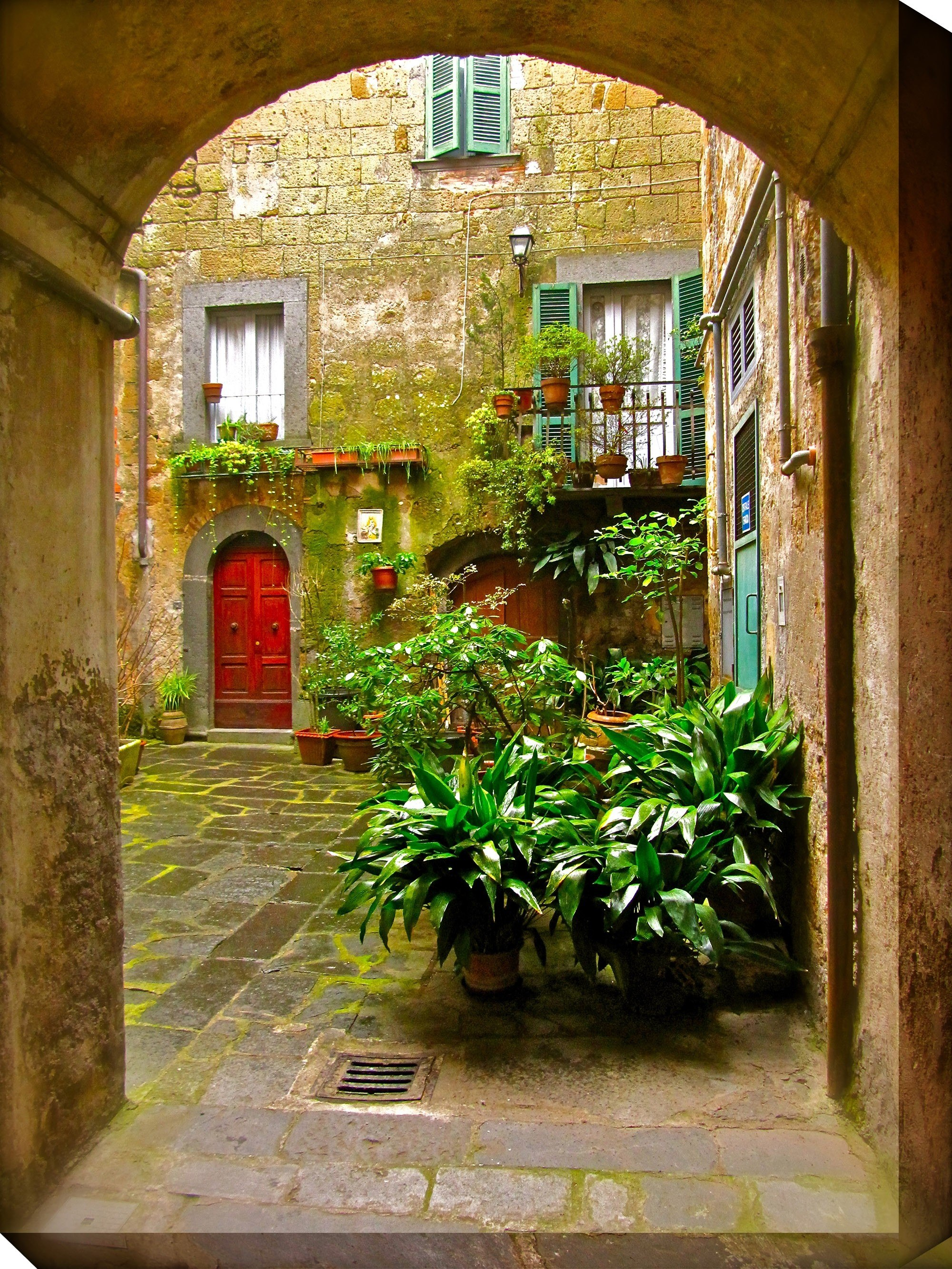 West Of The Wind Outdoor Canvas Wall Art Italian Courtyard