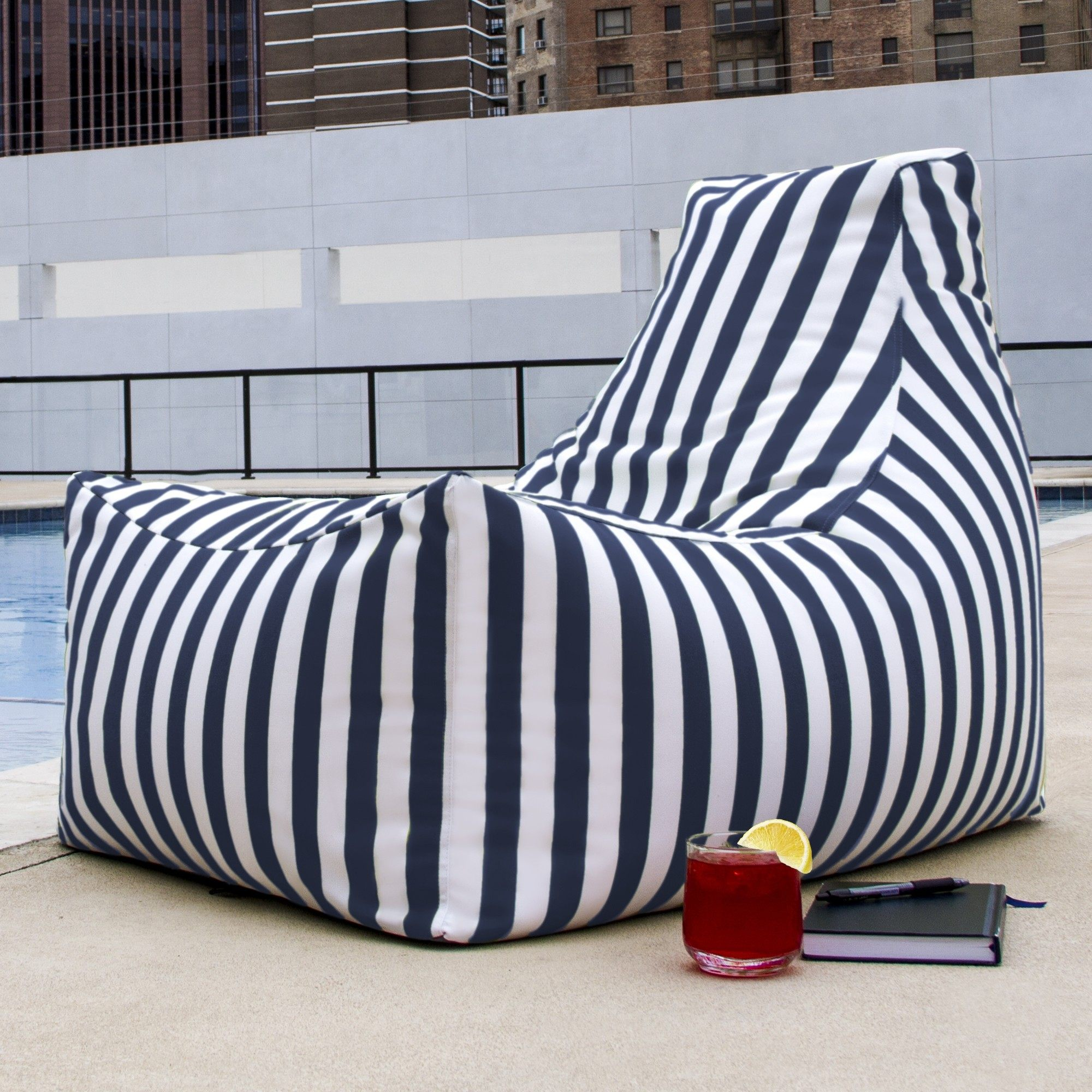 Groovy Juniper Outdoor Patio Bean Bag Chair Navy Stripe Ocoug Best Dining Table And Chair Ideas Images Ocougorg