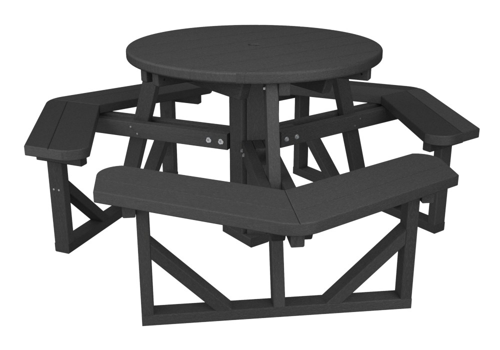 POLYWOOD Park Round Picnic Table - White round picnic table
