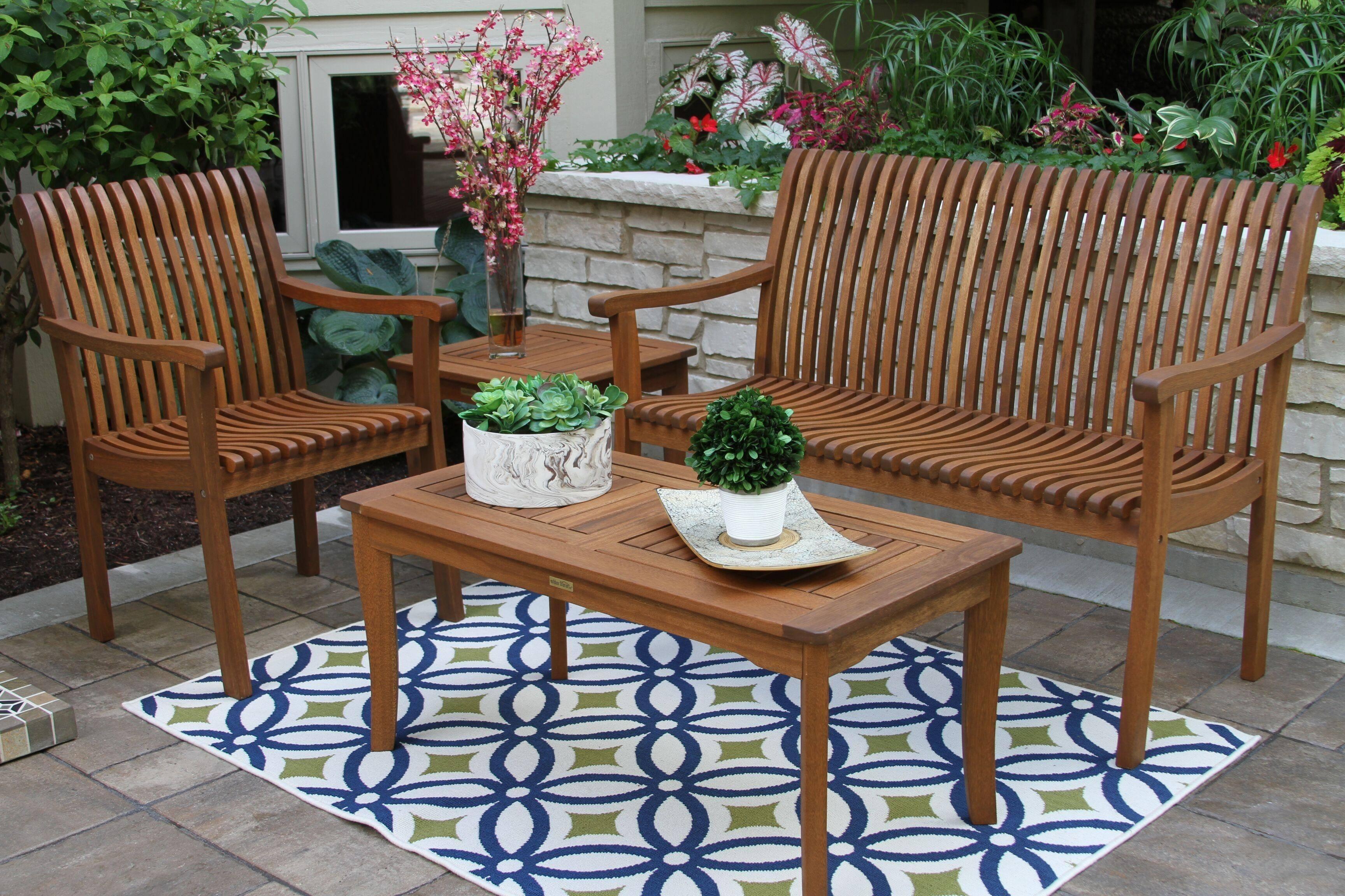 Outdoor Interiors Eucalyptus 4pc Seating Ensemble
