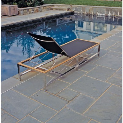 Kingsley Bate Ibiza Stainless Steel and Teak Trim Adjustable Chaise Lounge w/Wheels (a miminum order of 2 required)  by Kingsley Bate