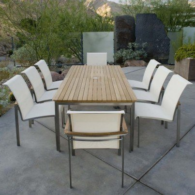 Kingsley Bate Tivoli 9 Piece Stainless Steel and Teak Dining Ensemble  by Kingsley Bate