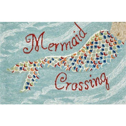 """Trans-Ocean Frontporch Mermaid Crossing Water Rug 20""""X30""""  by TransOcean"""