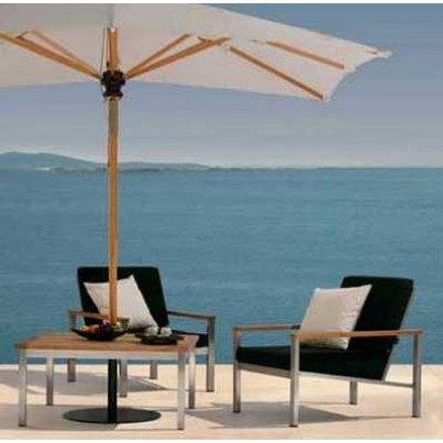 """Barlow Tyrie Equinox Stainless Steel and Teak 39"""" Square Conversation Table   by Barlow Tyrie"""