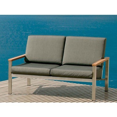 Barlow Tyrie Equinox Stainless Steel Deep Seating Settee - Cushions in Coal only  by Barlow Tyrie