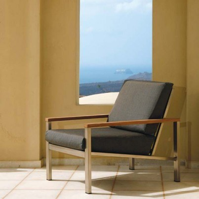 Barlow Tyrie Equinox Stainless Steel and Teak Deep Seating Armchair - in Coal only  by Barlow Tyrie