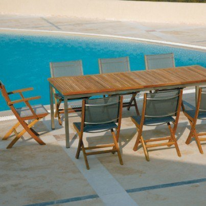 Barlow Tyrie Horizon Teak Folding Side Chair in Textilene Sling  by Barlow Tyrie