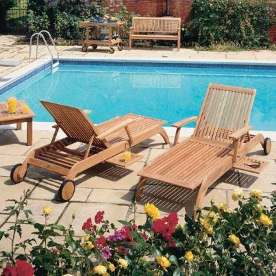 Barlow Tyrie Monaco Teak Chaise Lounger  by Barlow Tyrie