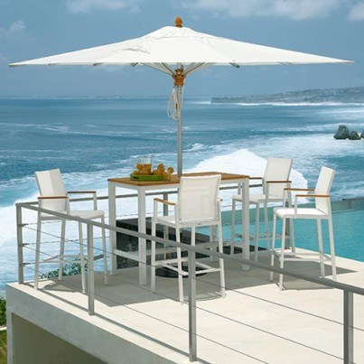 "Barlow Tyrie Aura Teak and Aluminum Rectangular High Dining Table 55""  by Barlow Tyrie"