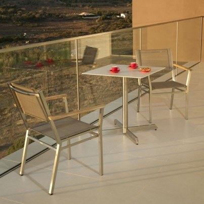 Barlow Tyrie Equinox Stainless Steel and Ceramic Square Pedestal Table  by Barlow Tyrie