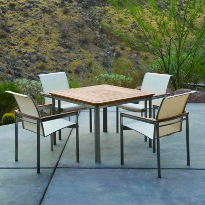 "Kingsley Bate Tivoli Stainless Steel and Teak 42"" Square Dining Table  by Kingsley Bate"
