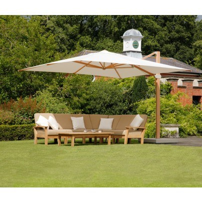 Barlow Tyrie Haven 8pc Teak Seating Ensemble with Umbrella  by Barlow Tyrie