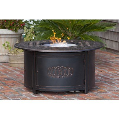 Dynasty Round Cast Aluminum LPG Fire Pit  by Frontera Furniture Company