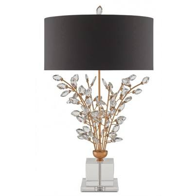 Currey & Company Forget-Me-Not Metal/Optic Crystal Table Lamp  by Currey & Company