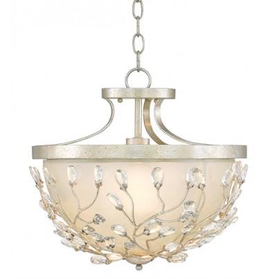 Currey & Company Adelia Wrought Iron/Glass/Crystal Semi-Flush  by Currey & Company