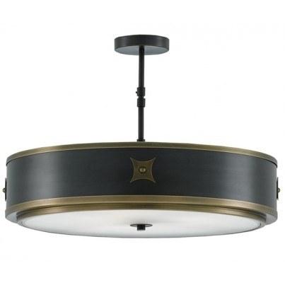Currey & Company Huntsman Brass/Glass Semi-Flush Mount  by Currey & Company