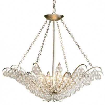 Currey & Company Quantum Wrought Iron/Glass Chandelier  by Currey & Company