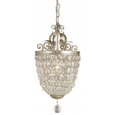 Currey & Company Bettina Wrought Iron/Crystal Pendant  by Currey & Company