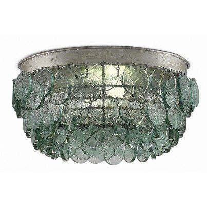 Currey & Company Braithwell Wrought Iron/Recycle Glass Flush Mount  by Currey & Company