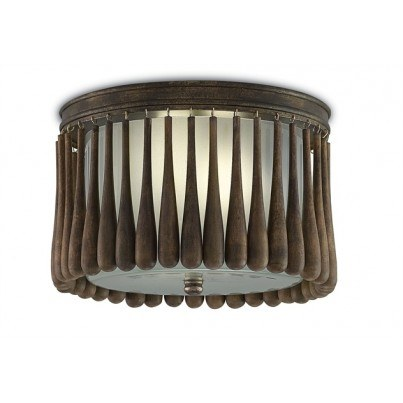 Currey & Company Gateau Wrought Iron/Wood/Glass Flush Mount  by Currey & Company