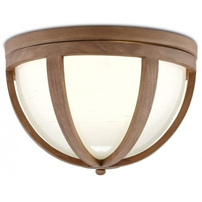 Currey & Company Summersville Wrought Iron/Carved Wood/Glass Flush Mount  by Currey & Company