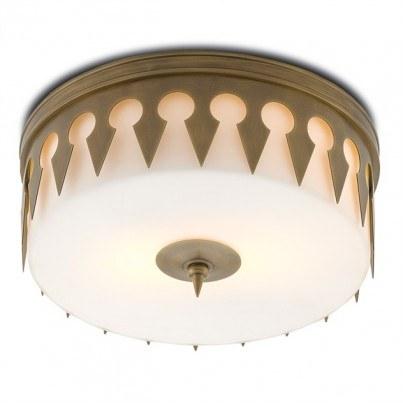 Currey & Company Keyhole Brass/Glass Flush Mount  by Currey & Company