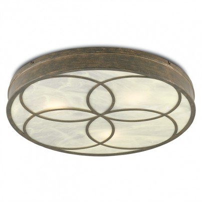 Currey & Company Bramshill Wrought Iron/Acrylic Flush Mount  by Currey & Company