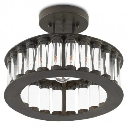 Currey & Company Elixir Wrought Iron/Optic Crystal Semi-Flush Mount  by Currey & Company