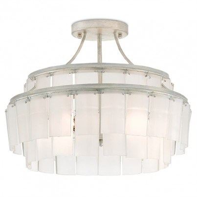 Currey & Company Vintner Blanc Wrought Iron/Recycled Bottle Glass Semi-Flush Mount  by Currey & Company