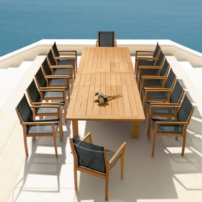 Barlow Tyrie Apex Teak Rectangular Extending Dining Table  by Barlow Tyrie