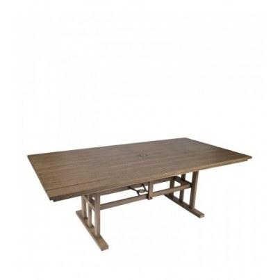 Woodard Augusta Woodlands Aluminum Rectangular Umbrella Table   by Woodard