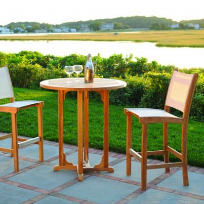 Kingsley Bate St. Tropez Teak Bar Chair and Essex Bar Table Ensemble  by Kingsley Bate