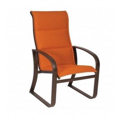 Woodard Cayman Isle Aluminum Padded Sling High-Back Dining Arm Chair  by Woodard
