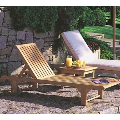 Kingsley Bate Nantucket Teak Chaise Lounge (sold in quantities of two or more)  by Kingsley Bate