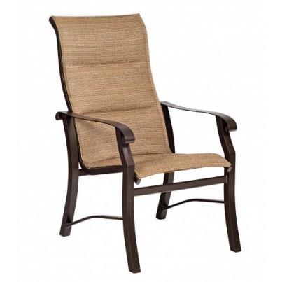 Woodard Cortland Aluminum Padded Sling High-Back Dining Arm Chair  by Woodard