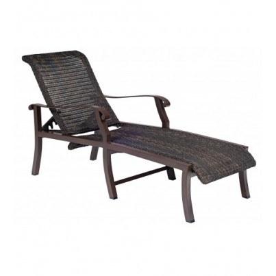 Woodard Cortland Aluminum Round Weave Adjustable Chaise Lounge  by Woodard